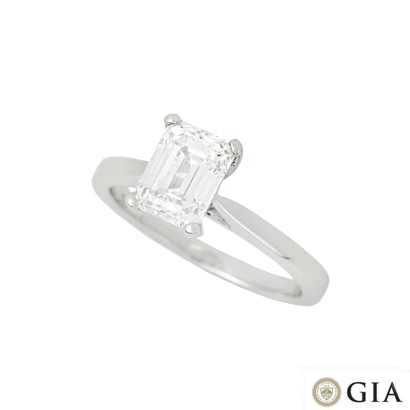 18k White Gold Emerald Cut Diamond Ring 1.50ct G/VS1